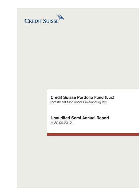Credit Suisse Portfolio Fund Lux Solutions Services