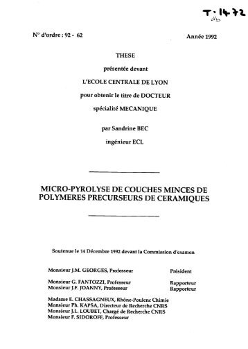 Micro-pyrolyse de couches minces de polymères précurseurs de ...