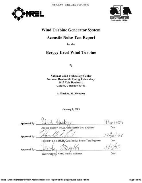 Wind Turbine Generator System Acoustic Noise Test Report     - NREL
