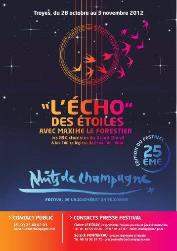 Dossier de presse Nuits de Champagne 2012 - Claire LEXTRAY
