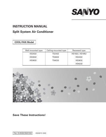 cpw tech manual  version mddn 001 02  sanyo Split System Air Conditioner Split Air Conditioner