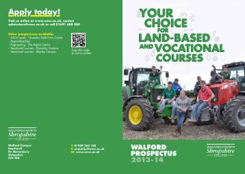 Full-time Walford, land-based and vocational courses