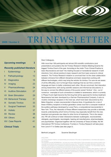 TRI NEWSLETTER - Tinnitus Research Initiative