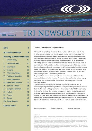 TRI Newsletter 0809 - Tinnitus Research Initiative