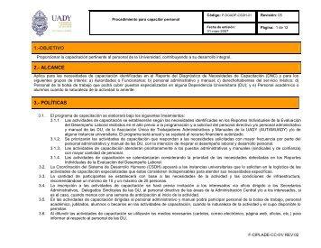 Procedimiento para capacitar personal - Sistema de Gestión de la ...