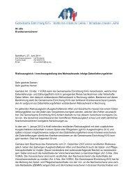 Schreiben an Versicherer - Gemeinsame Einrichtung KVG