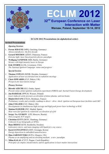 ECLIM 2012 Participants