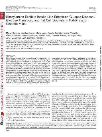 Benzylamine Exhibits Insulin-Like Effects on Glucose Disposal ...