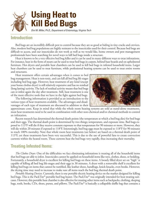Using Heat To Kill Bed Bugs Virginia Department Of Agriculture And
