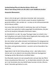 Verabschiedung Pfarrerin Martina Reister‐Ulrichs und Pfarrer Hans ...