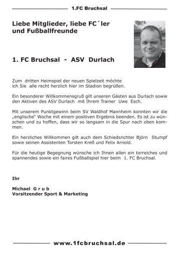 Stadionheft Nr. 3 ASV Durlach - 1.FC Bruchsal