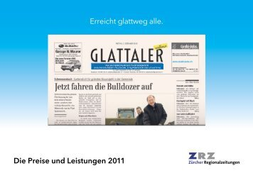 Erreicht glattweg alle. Die Preise und Leistungen 2011 - Zürcher ...