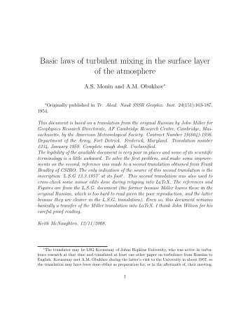 Basic laws of turbulent mixing in the surface layer of the ... - Free