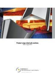 Product range sheet pile sections - Minex GEOTEHNIKA