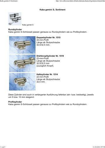 Kaba gemini S Sortiment (pdf) - DZ-Schliesstechnik Gmbh