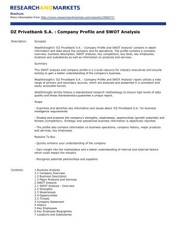 DZ Privatbank S.A. : Company Profile and SWOT Analysis
