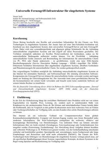Universelle Fernservice-Infrastruktur für eingebettete Systeme