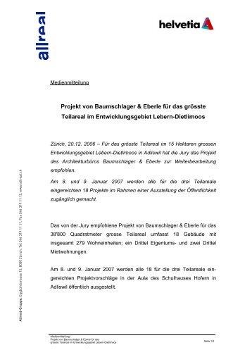Allreal Medienmitteilung - Projekt von Baumschlager & Eberle für ...