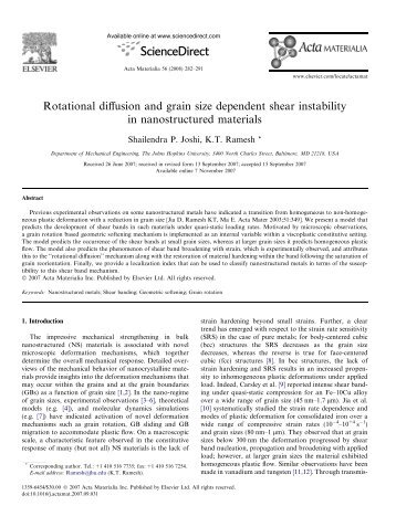Rotational diffusion and grain size dependent shear instability in ...