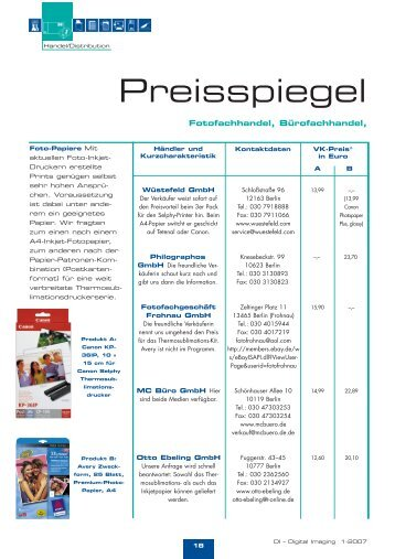 Preisspiegel Berlin - Digital Imaging
