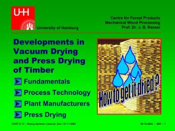 Developments in vacuum drying and press drying of