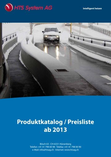 Produktkatalog / Preisliste ab 2013 - HTS System AG