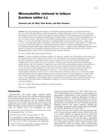 Microsatellite retrieval in lettuce (Lactuca sativa L.) - Wageningen UR