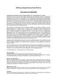 Jahresbericht 2002/2003 - Geigenbauschule Brienz