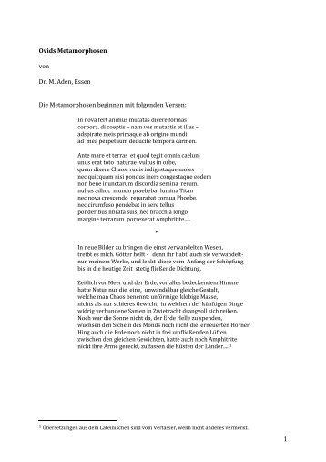 1 Ovids Metamorphosen von Dr. M. Aden, Essen Die ...