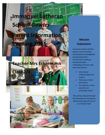 2-3 Handbook Eckermann - Immanuel Lutheran School, Gawler