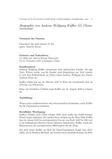 Biographie von Andreas Wolfgang Koffler SJ, China- missionar