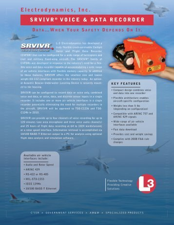 Electrodynamics, Inc. SRVIVR ® VOICE & DATA RECORDER - L-3 ...