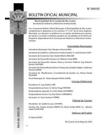 BOLETIN OFICIAL MUNICIPAL - Municipalidad de Rio Cuarto
