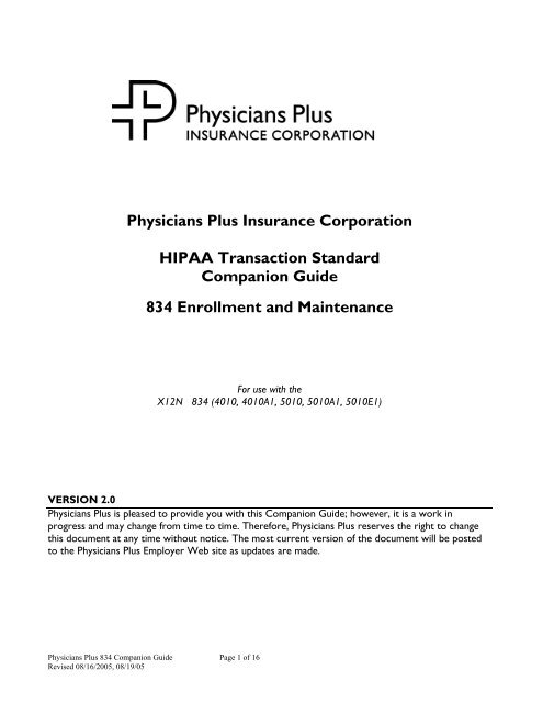 Hipaa 834 implementation guide 5010
