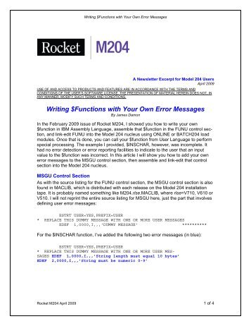 Writing $Functions with Your Own Error Messages - Rocket Software