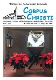 Pfarrbrief Ausgabe 4-2012 (2,1 MB) - Pfarrei Corpus Christi, Nürnberg