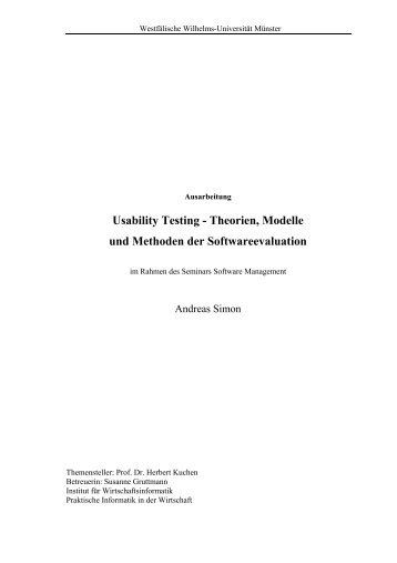 Usability Testing - Theorien, Modelle und Methoden - Institut für ...