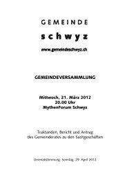 GEMEINDEVERSAMMLUNG - Gemeinde Schwyz