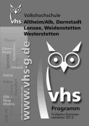 Anmeldung an Volkshochschule im Alb-Donau-Kreis eV ...