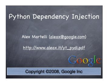 Python Dependency Injection - Alex Martelli