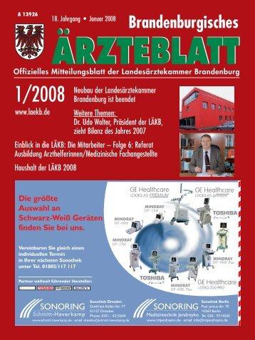Brandenburgisches Ärzteblatt 01/2008 - Landesärztekammer ...