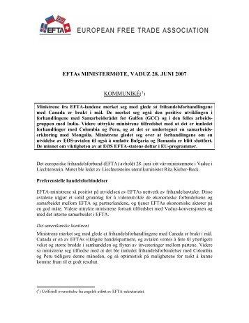 EFTAs MINISTERMØTE, VADUZ 28. JUNI 2007 KOMMUNIKÉ(