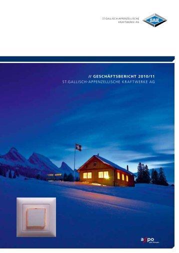 // geschäftsbericht 2010/11 St.GalliSch-appenzelliSche kraftwerke aG