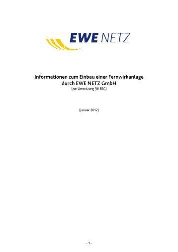 Informationen zum Einbau einer Fernwirkanlage - EWE NETZ GmbH