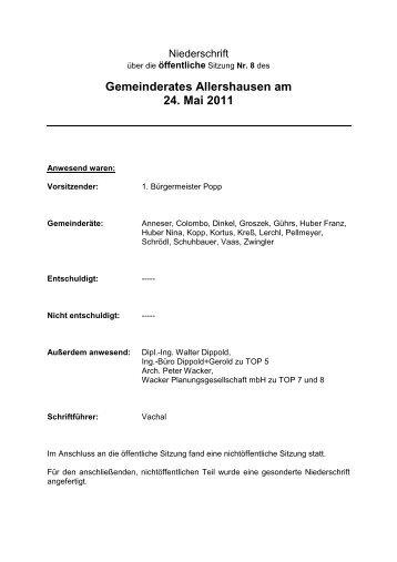 8. Öffentliche Sitzung des Gemeinderates Allershausen vom 24.05