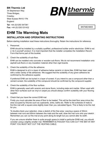 EHM Tile Warming Mats - BN Thermic