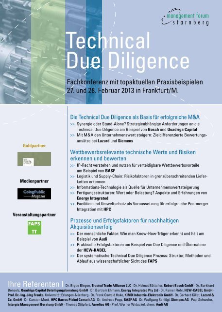 Technical Due Diligence Faps