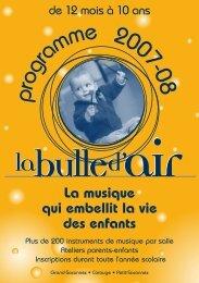 programme 2007-08 - La Bulle d'Air
