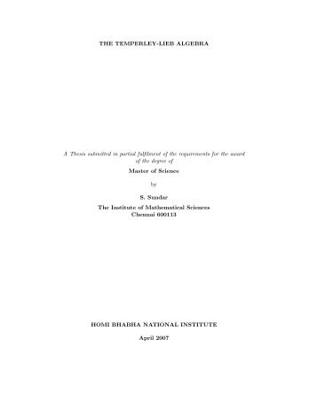 the Masters' Thesis of S. Sundar