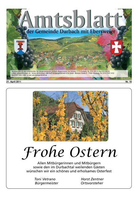 Frohe Ostern - Durbach